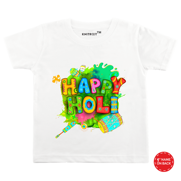Personalised white happy holi t-shirt