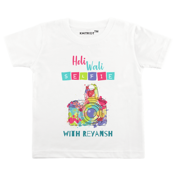 Personalised white holi wali selfie t-shirt