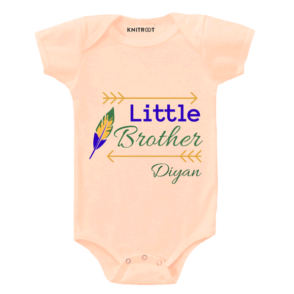 Personalised Little brother peach onesie