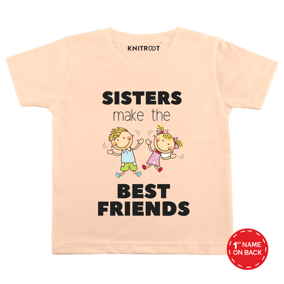 Personalised Sister make best friends peach t-shirt