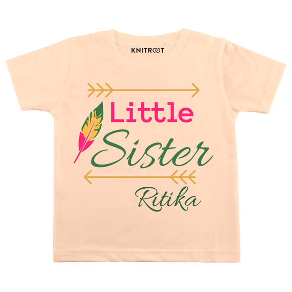Personalised Little sister peach t-shirt
