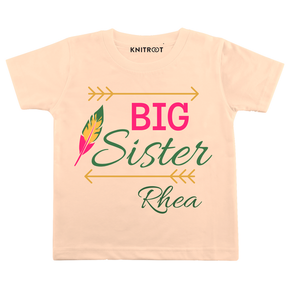 Personalised Big sister peach t-shirt