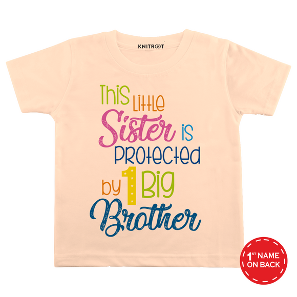 Personalised This little sister is protected peach t-shirt