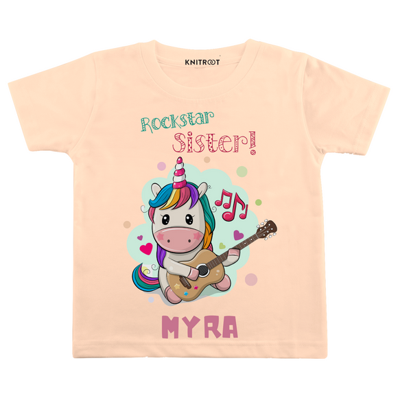 Personalised Rockstar Sister peach t-shirt