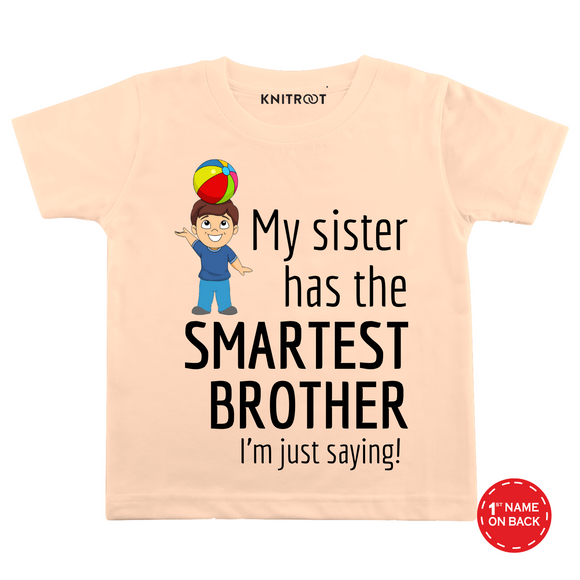 Personalised Sister has smartest brother peach t-shirt