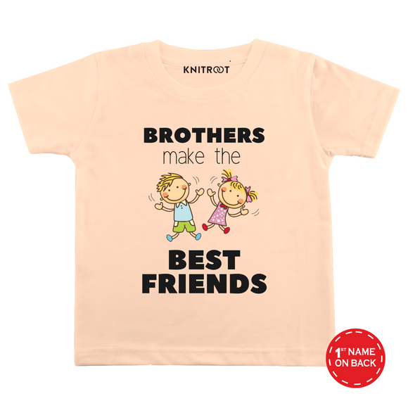 Personalised Brothers make best friend peach t-shirt