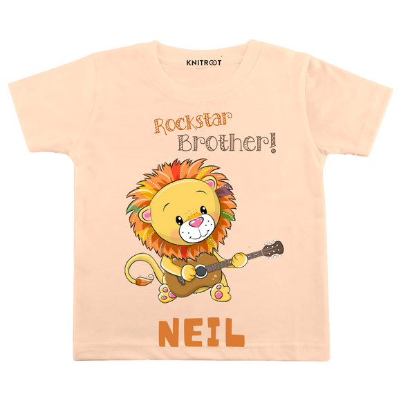 Personalised Rockstar brother peach t-shirt