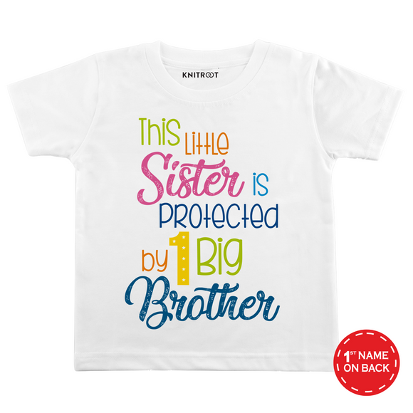 Personalised This little sister is protected white t-shirt