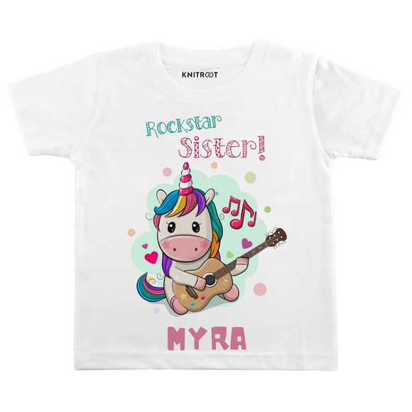 Personalised Rockstar Sister white t-shirt