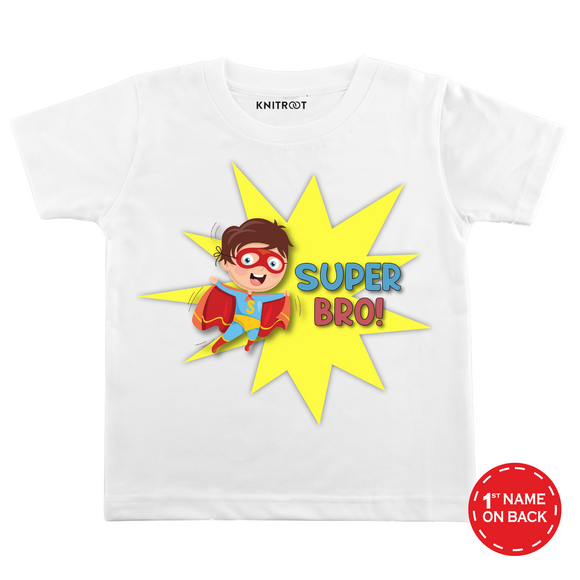 Personalised Super Bro white t-shirt