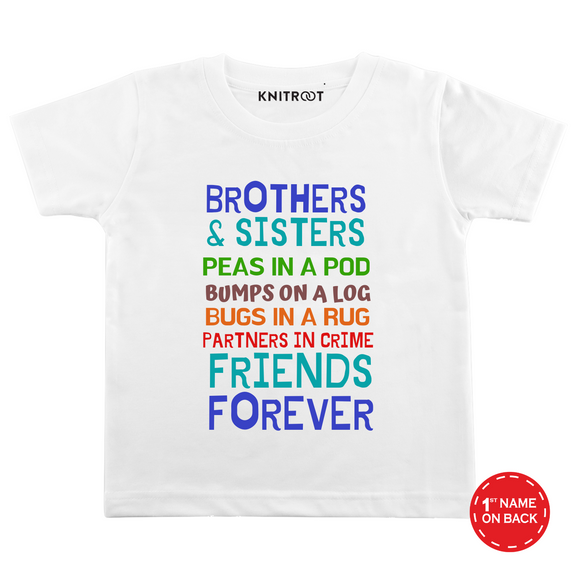 Personalised Friends and forever white t-shirt