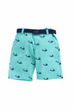 Summer Set Of Blue Shirt With Mint Blue Embedeed Shorts