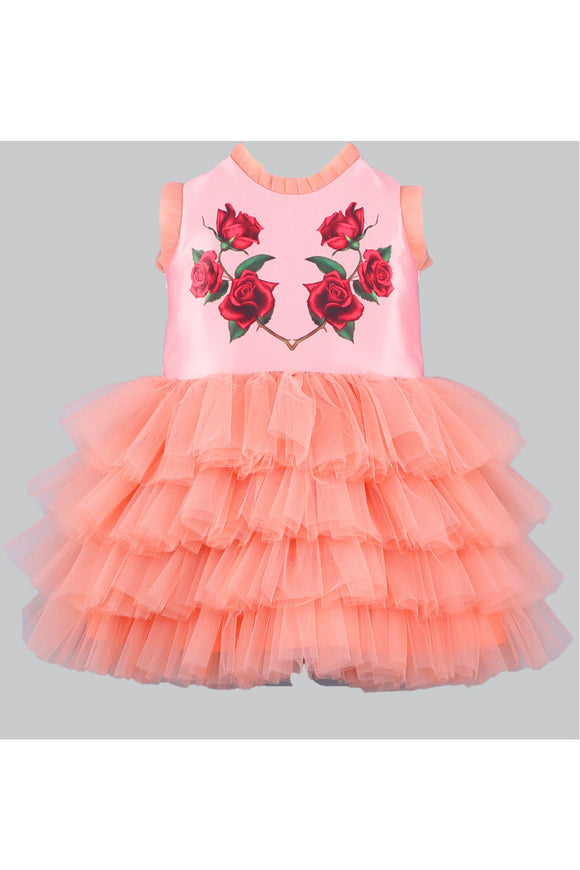 Rose bunch peach dress