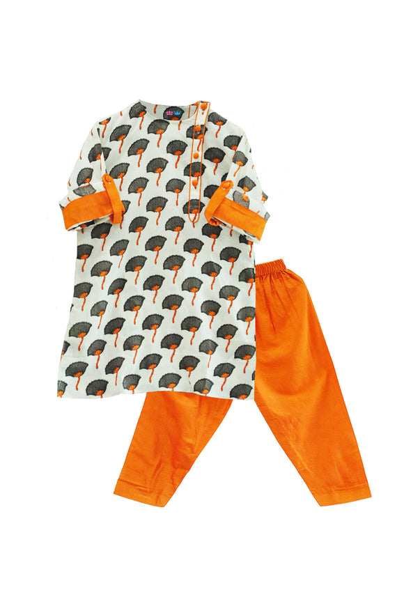 Orange Kurta Pyjama Set
