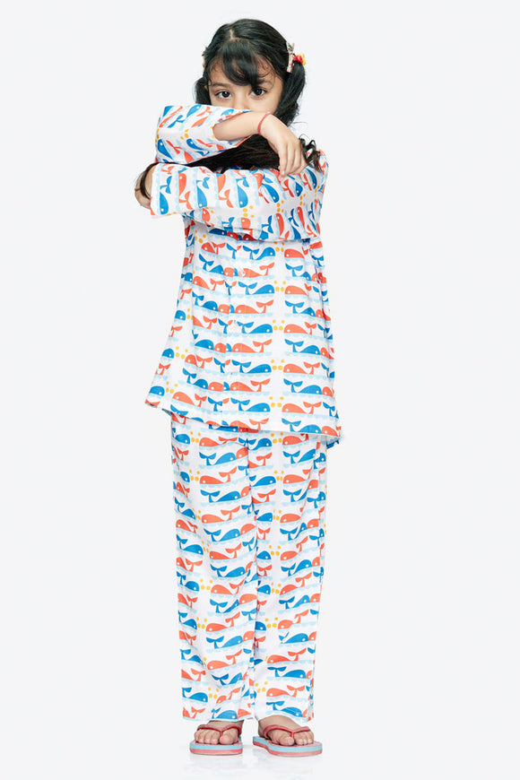 Dolphin Cotton Nightsuit - Girls