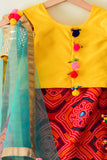 Yellow and Red Bandhani Print Off-Shoulder Lehenga Choli