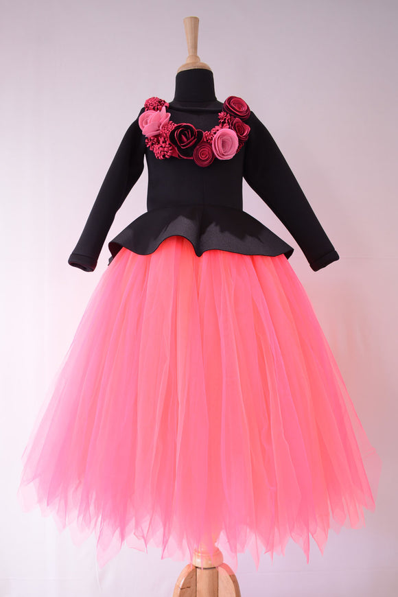 Black necklace peplum with neon pink long tutu skirt
