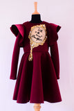 Maroon mirror hand embroidered fit and flare dress