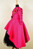 Fuchsia Pink and black high low peplum corset with long tutu skirt