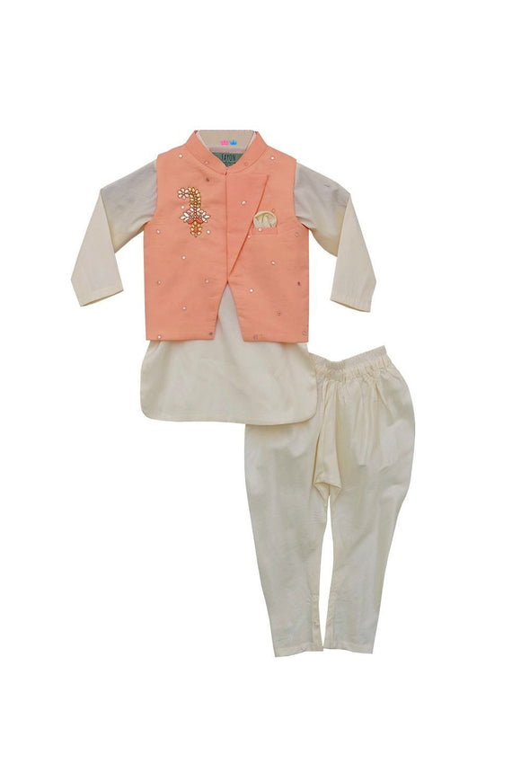 Peach Nehru Jacket with Kurta & Churidar
