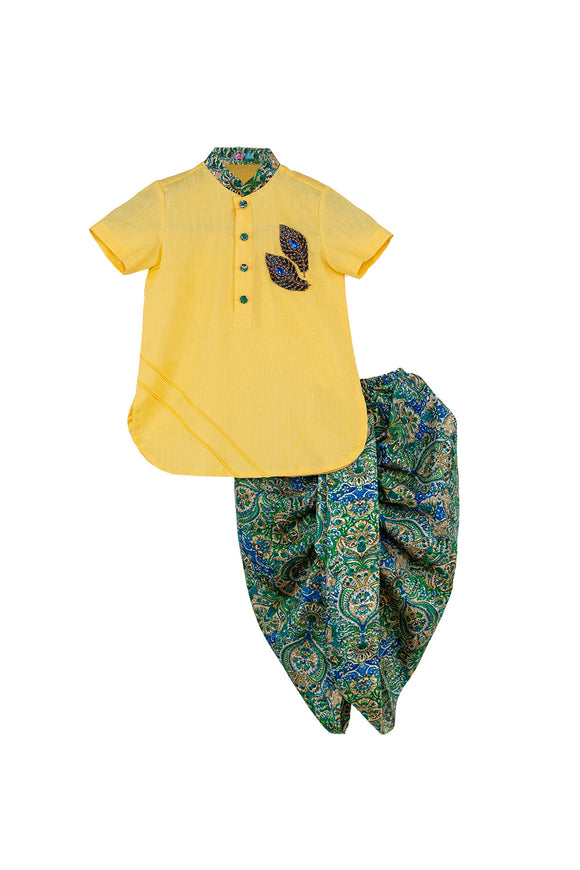 Peacock Feather Embroidered Kurta With Printed Dhoti