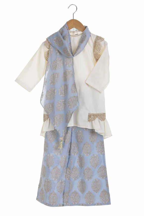 Organic pleated kurta with printed palazzo and origami scarf