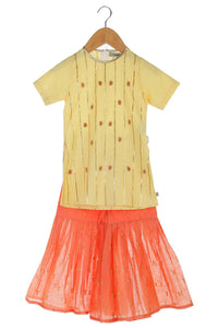 Lemon and Peach Handmade Kurta with Sharara