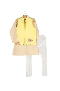 Save Our Seas Bandhgala with Kurta-Lemon/Biscuit