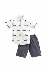 Summer Set Of Embroidered Shirt With Purple Stripes Shorts
