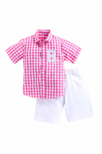Bicycle Set Of Pink Check Shirt With White Shorts