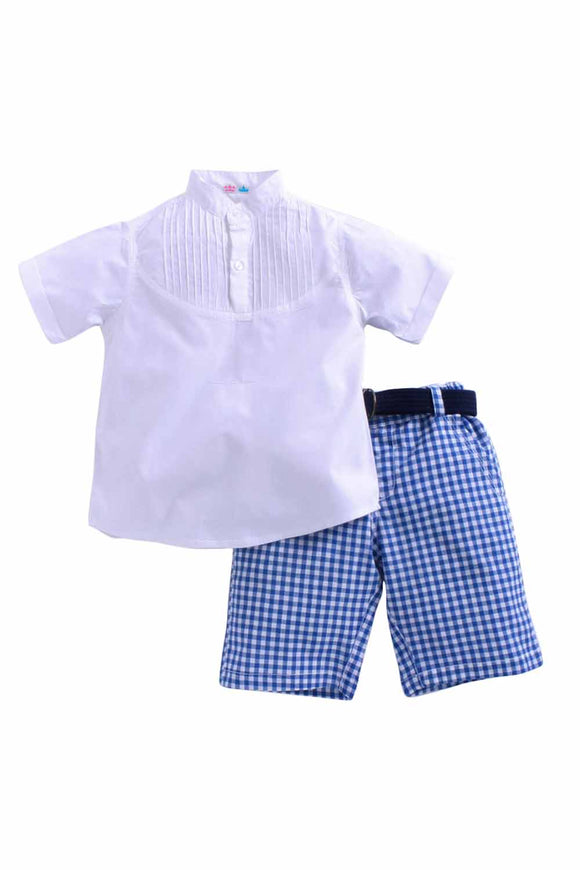 Pintux Shirt Set With Blue Check Shorts Set