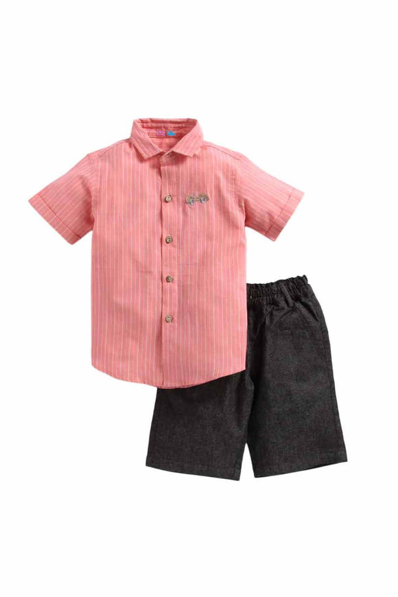 Summer Set Of Peach Shirt With Grey Shorts