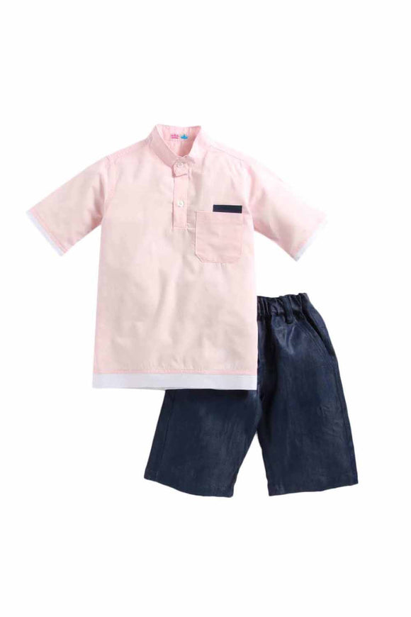 Summer Set Of Pink Shirt and Denim Shorts