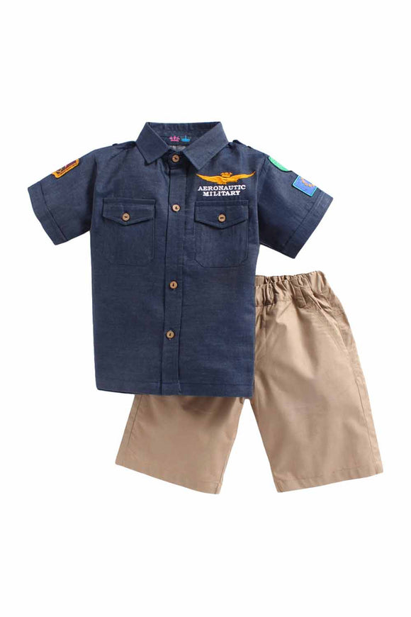 Summer Set Of Blue Shirt With Beige Shorts