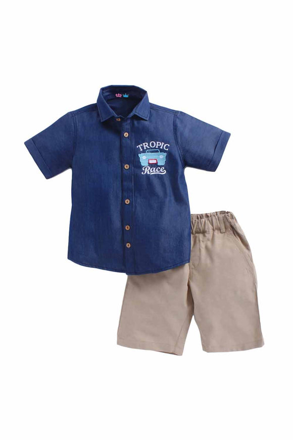 Tropic Race Denim Shirt And Cotton Short Set