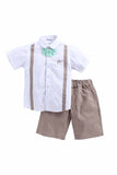 Gentlemen Set Of White Cotton Shirt With Beige Shorts And Green Check Bow