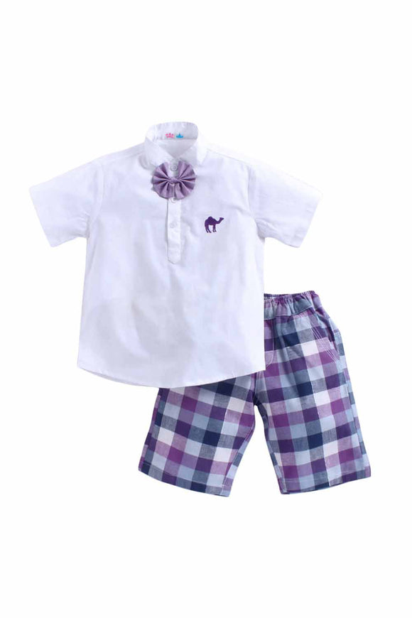 Purple Bow Set Of Purple Bow On White Shirt With Purple Check Shorts