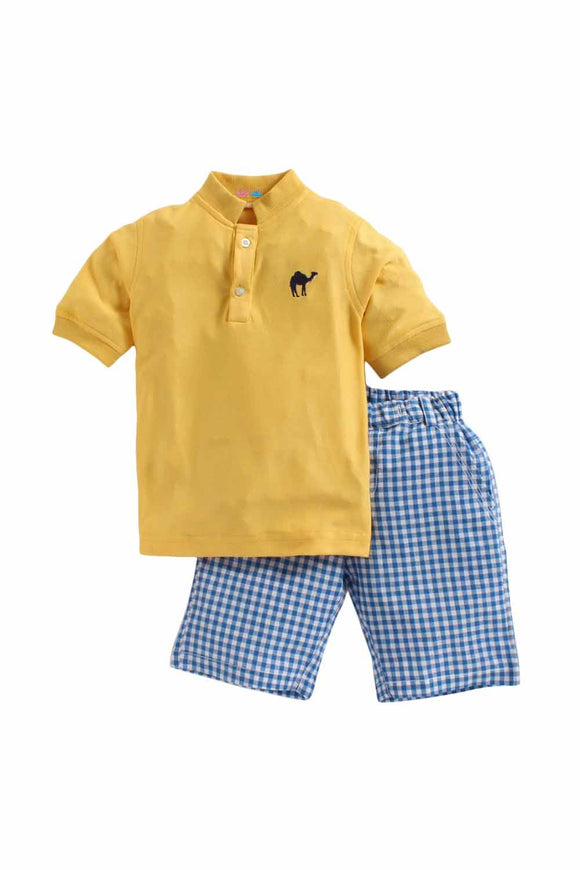 Summer Set Of Yellow Shirt With Blue Check Shorts