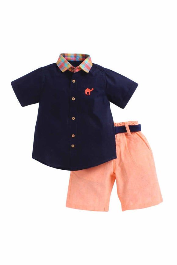 Summer Set Of Navy Blue shirt With Check Collar And Orange Shorts