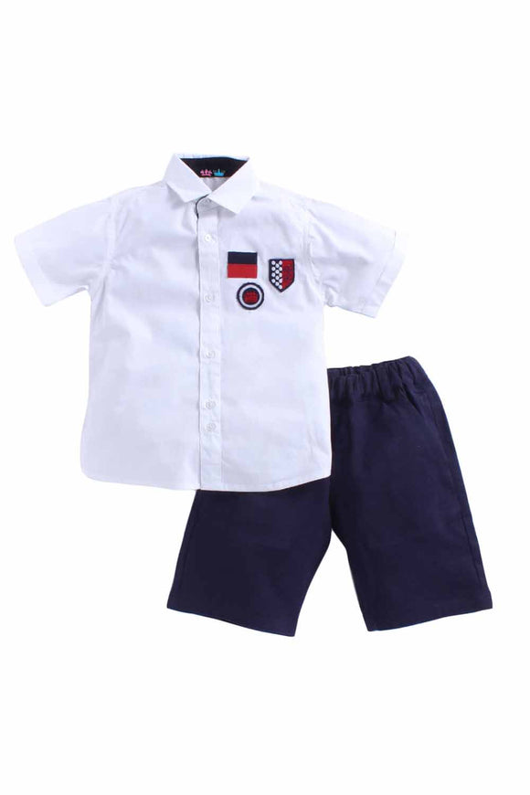 Batch Shirt Set Of White Shirt With Batch On The Chest And Navy Blue Shorts