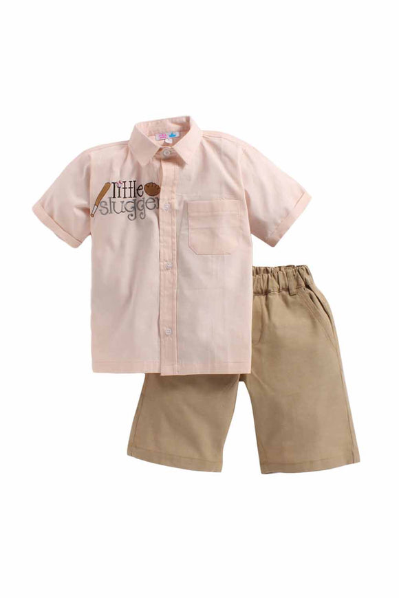 Summer Set Of Baby Pink Shirt With Beige Shorts