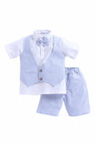 Waist Coat Set Of Blue Stripe Waist Coat And Stripe Shorts