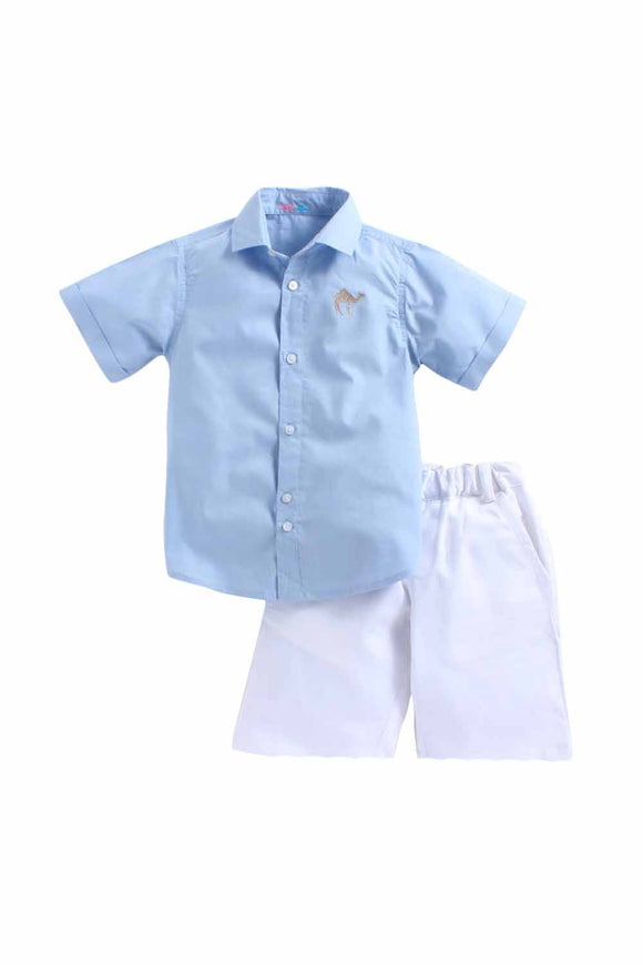 Summer Set Of Blue Check Shirt With White Shorts