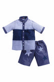 Summer Set Of Cotton Patch Shirt And Denim Shorts With Star Patch