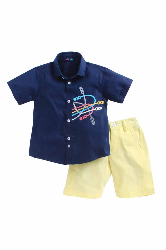 Racing Car Set Of Navy Blue Shirt With Bright Yellow Shorts