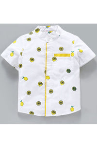 White half sleeves lemon print shirt! Shop online from our latest collection of kids designer shirts and t shirts for boys. Wide range of designer casual shirts and partywear designer shirts for boys.