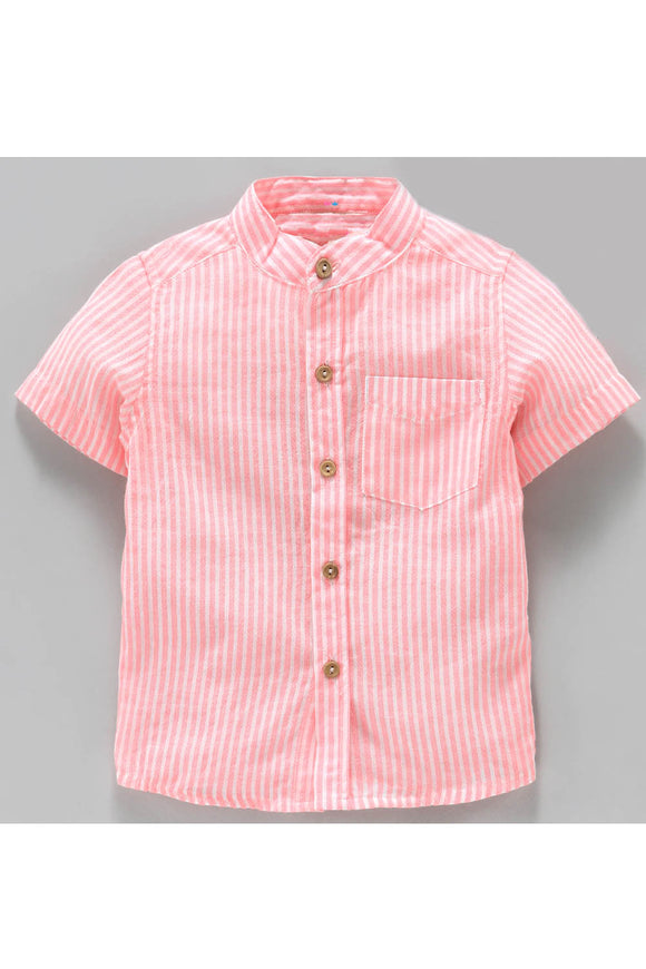 Pink half sleeves striped shirt! Shop online from our latest collection of kids designer shirts and t shirts for boys. Wide range of designer casual shirts and partywear designer shirts for boys.