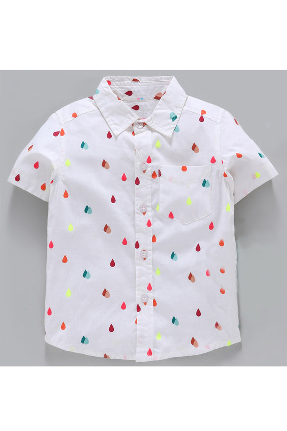 White button down drop print shirt! Shop online from our latest collection of kids designer shirts and t shirts for boys. Wide range of designer casual shirts and partywear designer shirts for boys.