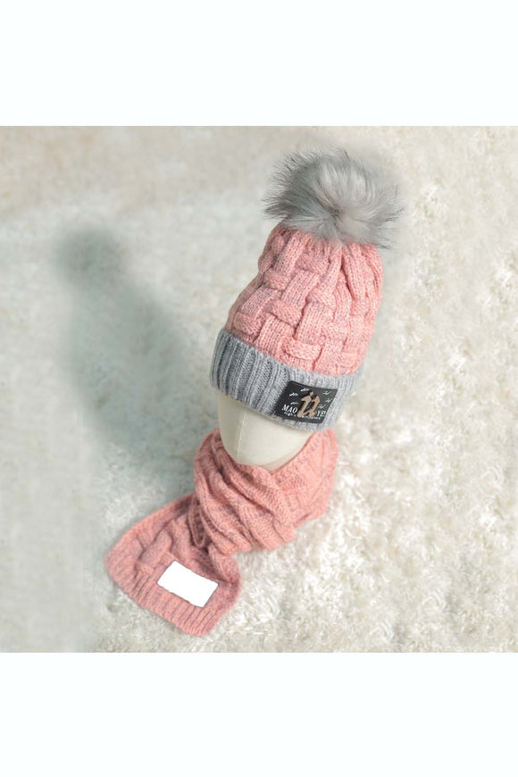 Grey and pink texture warm cap with muffler! Winter caps for kids, muffler for kids, woollen caps for kids, monkey caps for kids. Woolen caps for boys. Woolen caps for girls