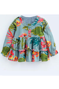 Grey floral full sleeves ruffle detail top! Tops for kids, t shirts for baby girls, partywear tops for baby girls, pants for baby girls, designer tops and bottoms, designer peplum top, casual tops for baby girls